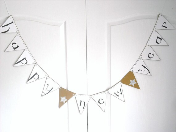 Happy New Year 2013 Banner in Black, White, Gold & Silver Glitter