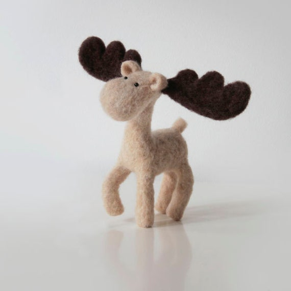 December with MO the Moose - a proud handmade animal with stunning big brown antlers