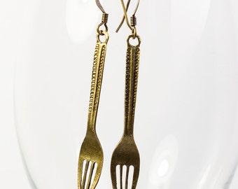 Antique Bronze Fork Earrings