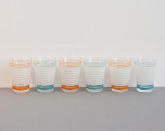 Set of 6 Vintage Shot Glasses in Blue, Orange and White Striped Pattern