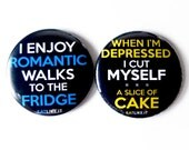 Set of 2 - Magnets - 2.25 inches Round - Fridge, Humor, Typography - Perfect for Party Favors, Gifts