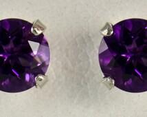 6mm Sterling Silver Amethyst Earrings - Fine Gemstones