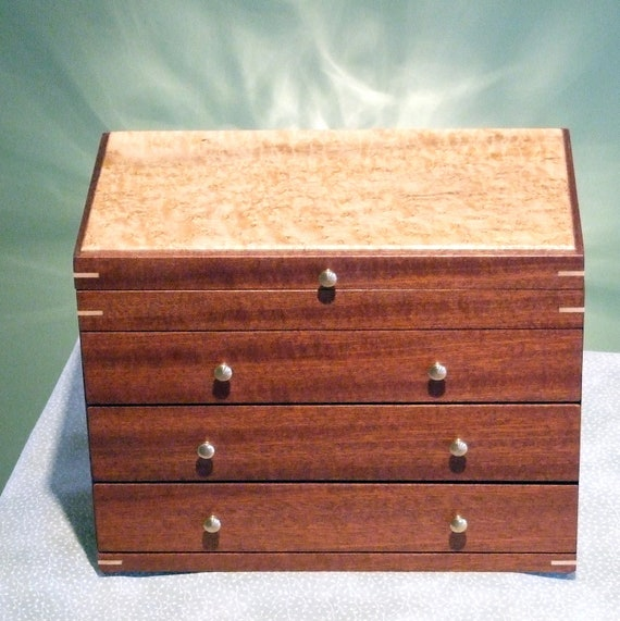 JEWELRY BOX - Mahogany Wood Jewelry Box  -  Wood Jewelry Organizer  - by Dale Hastings - Jewelry Organizer - Earring Holder - Ring Bar