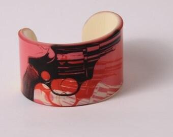 Acrylic Bracelet / Bangle - Andy Warhol - Gun - Portrait - Cuff / Wristband - Pink / Pop - Portrait
