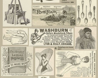 Vintage, Sepia Advertisements Collage Sheet - Mixed Media, Decoupage, Altered Books, ATCs