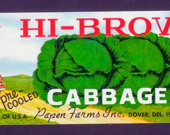 1960's Vegetable Crate Label - Hi-Brow Cabbage  -  Decor, Collage, Decoupage