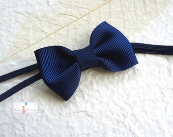 Baby Headband, Petite Navy Blue Bow Baby Girls Headband, newborn headband, Baby Photo Props Bows