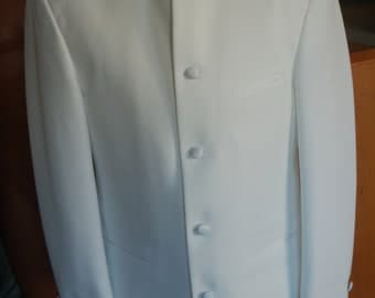 mens vintage mandarine collar tuxedo jacket (white) 41R