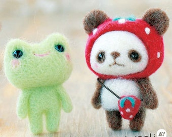 Strawberry-hat Panda & Frog Needle Felting Kit