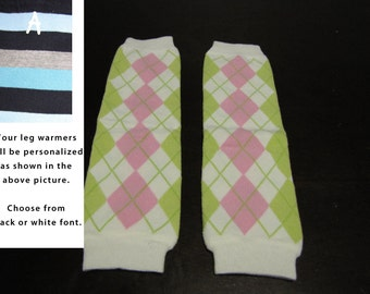PINK GREEN ARGYLE baby leg warmers.  Great for babies, toddlers, and young kids