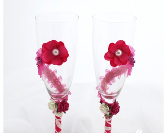 SALE Wedding Glasses with  Handmade Flowers, Pearls, Lace in Fuchsia and White (1 Pair)