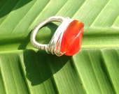 Red carnelian ring - size 6 1/2 - gemstone ring - wire wrapped - handmade - silver ring - chunky ring - cocktail ring