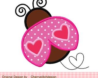 "Ladybug Heart Ladybug Machine Embroidery Applique Design - 4x4 5x5 6x6"""