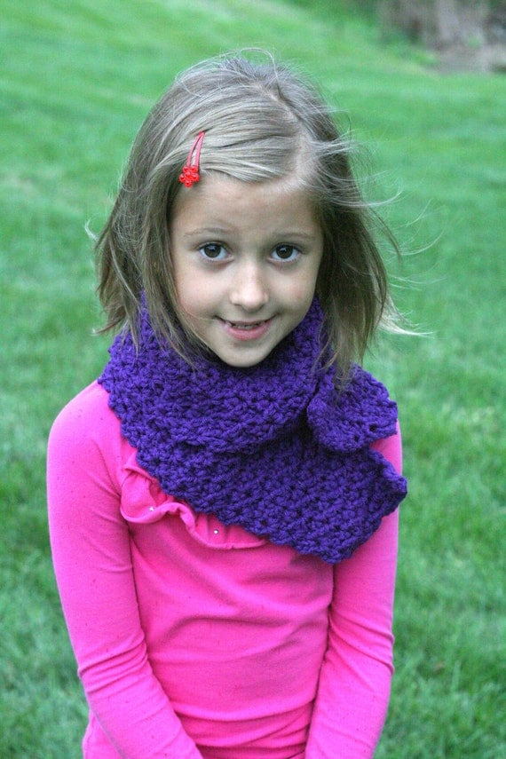 Kids Crocheted Scarf Bright Purple