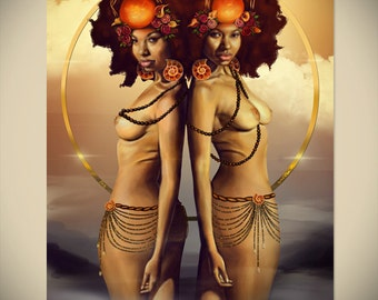 GEMINI Zodiac African American Art Black Goddess Woman Afro Natural Hair Afrofuturism Fantasy Illustration Painting Print by Sheeba Maya