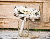 Feather Wedding Bouquet - Fabric Wedding Bouquet, Peacock bouquets, Brides and Bridesmaids, Unique Bouquets, Vintage Wedding Bouquets