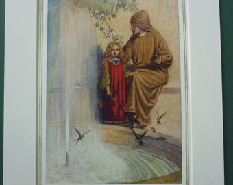 1960's print of Dante and the Child Francesca, Paolo, Divine Comedy, Lancelot and Guinevere, Italian, Italy, romance, tragedy