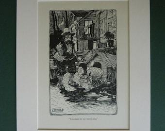1953 Pinocchio Vintage Print - Children's Illustration - Charles Folkard Print - Children's Print - Carlo Collodi - Watchdog - Antique Prin