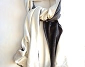 Grey and Cream Scarf. Cotton Lace Detail. Modern Fall Accessories.  Chic Fashion Scarf. One of a Kind.