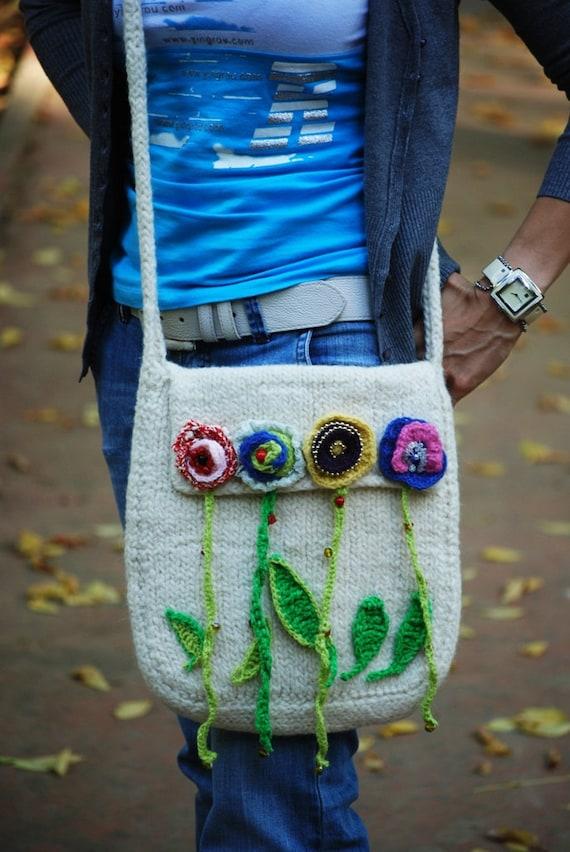 Knitting felted bag  Felt handbag Messenger bag