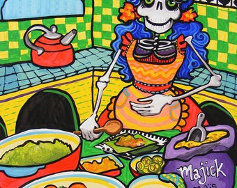 Day of the Dead Kitchen Catrina Skeleton Cooking Tamales Poster. Green Yellow Wall Art Rockabilly Cooking Mexican Dia de los Muertos art