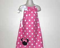 Pink Minnie Mouse Dress and Hair Bow Set