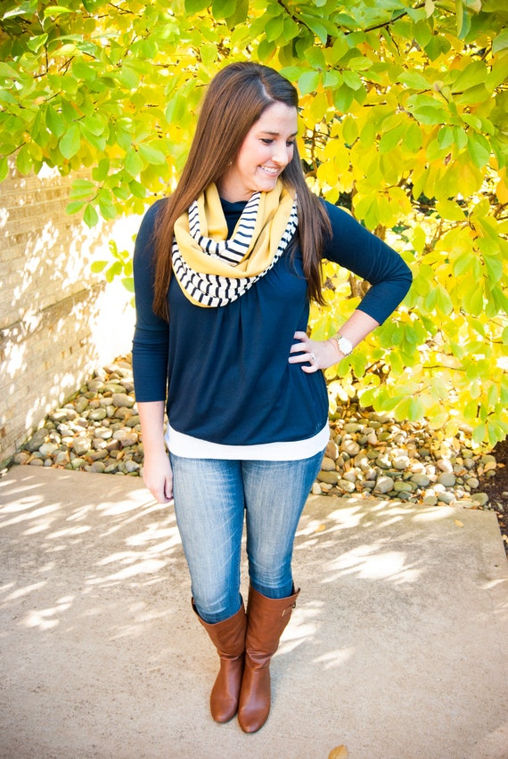 Reverse Navy And White With Mustard Yellow Autumn Infinity