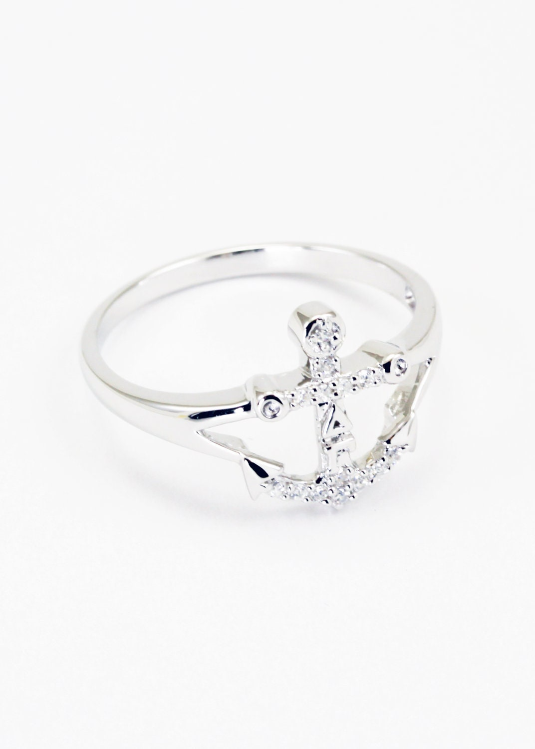 delta gamma sterling silver anchor ring with by