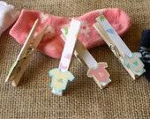 24 baby shower clothespins set