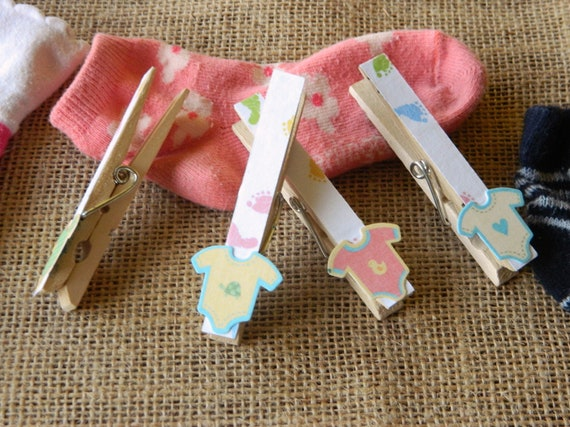 items similar to adorable 24 baby shower clothespins set on etsy
