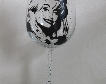 Hand Painted Wine Glass - DOLLY PARTON