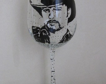 Hand Painted Wine Glass - TIM MCGRAW