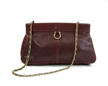 oxblood leather purse / burgundy leather bag / convertible clutch purse / chain strap bag