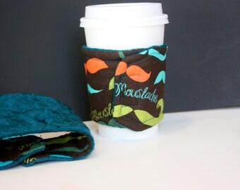 Unique mustache reversible coffee cozy or bottle wrap