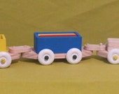 Wooden Handmade Train Set - Dark Blue and Natural Locomotive With Four Cars - Non-toxic Paint & Water Base Finish