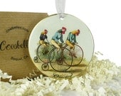 Vintage Chickens & Roosters Riding Bicycles Ornament