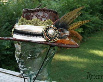 WOODLAND WARRIOR - Faux Leather Hat with Hand-beaded Medallions, Lace, Satin and Feathers