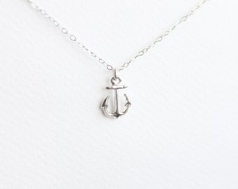 Anchor Necklace, Silver Necklace, Everyday Necklace, bridesmaid gift, bridesmaid necklace, layered necklace, beach wedding, danity necklace