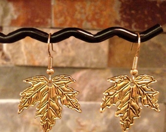 Antiqued Gold Small Maple Leaf Earrings