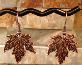 Antiqued Copper Small Maple Leaf Earrings