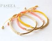 Set of 3 ( any choice of colors) Gold Tube Macrame Bead Bracelet