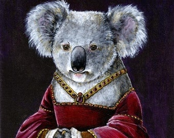 Renaissance Lady Koala Portrait fine art print