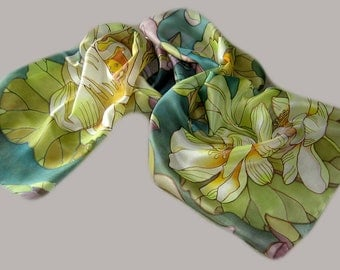 silk Scarf -lotus- hand-painted by the author's sketches.  Made to order.
