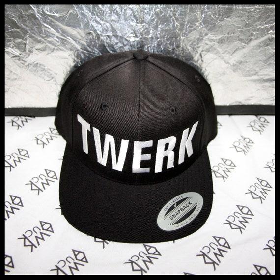TWERK hat black flat brim snapback