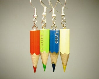 Set of 24 colored pencil earrings