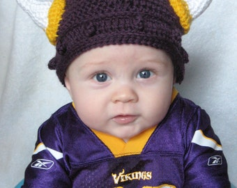 Crocheted Viking Helmet- Minnesota Vikings Version