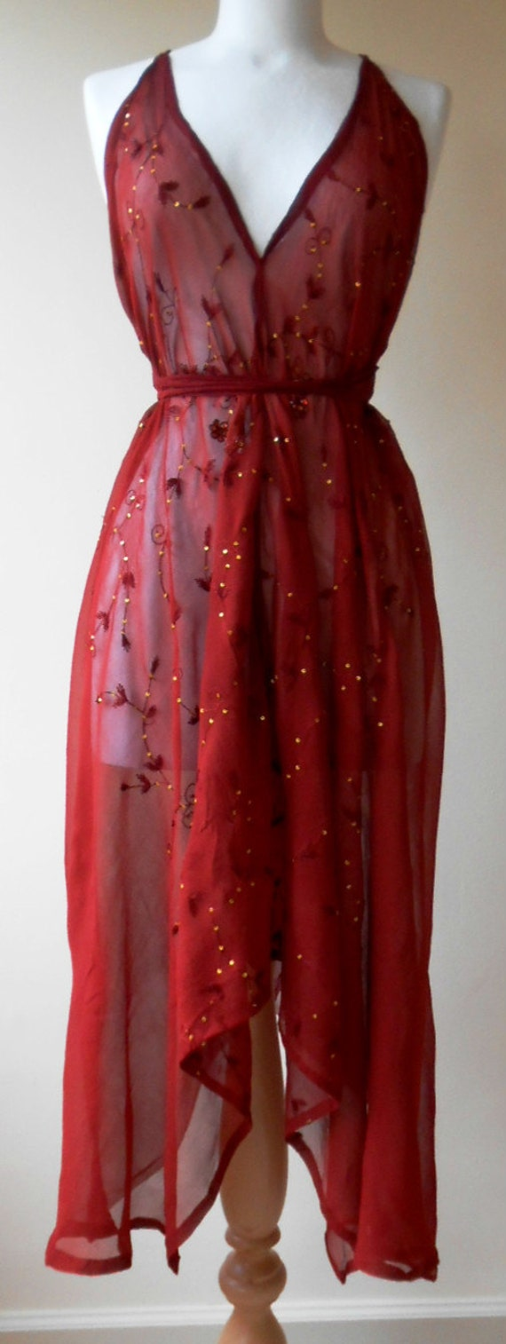 Beautiful Burgundy Red Hand Embellished Backless Silk Dress