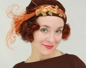 In-Stock: Fire-Breathing Dragon Cloche Hat with Curled Feathers & Hand-Beaded Dragon Applique 1920s Flapper Style