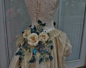 RESERVED for Mandie Handmade Wedding Dress Mini Plus Tail Beige Roses Embroidered Appliques