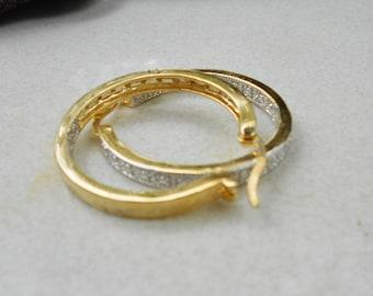 vintage Hoop earrings 1980s pierced gold plated metal and rhinestones  1980s preppy bling jewelry